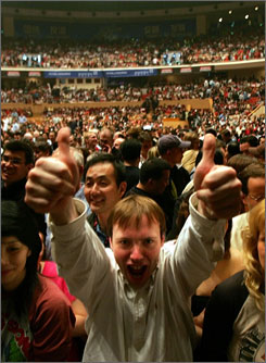A music fan in a crowd at a concert