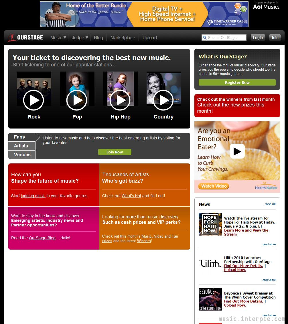 OurStage.com Screenshot